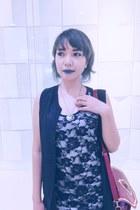 black Petite Zombie boots - black dress - black sm department store leggings