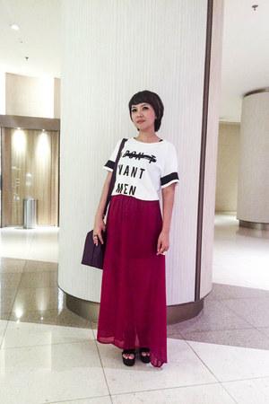 ruby red Una Rosa skirt - black Xin Xin heels - white pull&bear top
