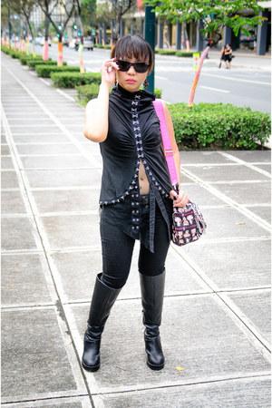 black H&M boots - black Terranova jeans - black Sprinto glasses