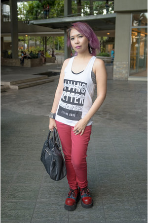 ruby red Terranova jeans - ruby red Azhwazt shoes - black Terranova bag