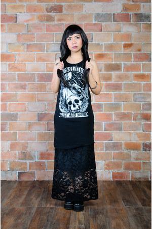 black h&m divided top - black scene stealer shoes - black lace h&m divided skirt