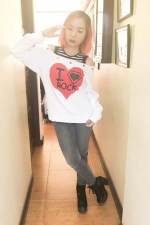 black Forever21 boots - black RRJ jeans - white Harajuku Lovers sweater