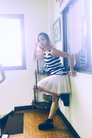 white tulle bread n butter skirt - black creepers Petite Zombie shoes