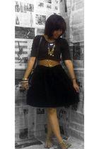 brown blouse - brown lm for hardware belt - black thrifted skirt - Forever 21 ac
