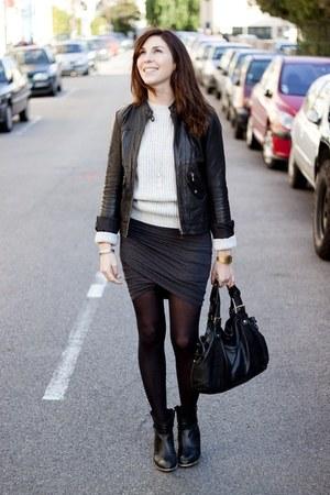 t by alexander wang skirt - ANDRE boots - Kookai jacket - Topshop jumper