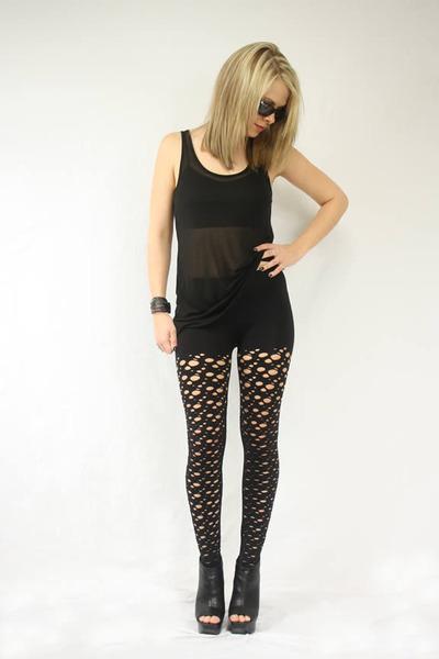 black alternative shirt - black Seventh Door leggings - black Seventh Door brace
