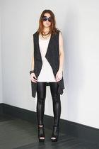 white alternative top - gray Seventh Door cardigan - black Seventh Door leggings