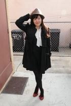 Guess coat - forever 21 blouse - forever 21 vest - American Apparel skirt - Lela