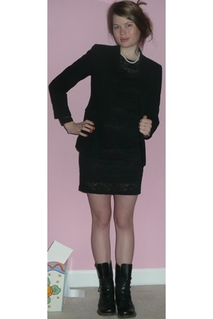 ann taylor blazer - fredricks of hollywood dress - Dr Martens boots - accessorie