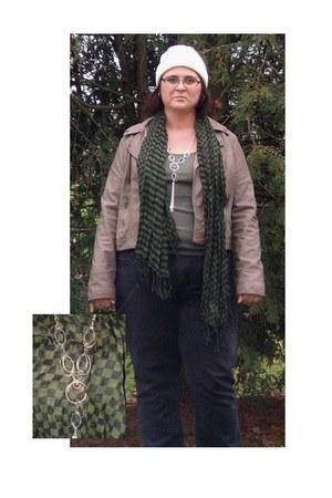 scarf - black jeans jeans - white knit hat hat - jacket - necklace