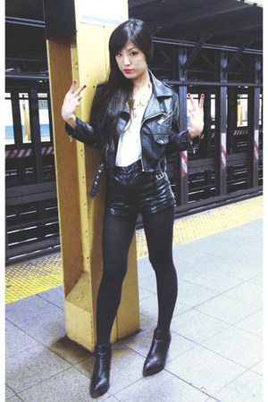 H&M shorts - Urban Outfitters boots - Nasty Gal jacket - H&M blouse