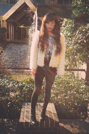 hm blouse - Top Shop boots - from grandmother jacket - American Apparel shorts