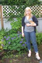 gray Hurley t-shirt - blue Cheap Monday jeans - blue H&M cardigan - purple Urban