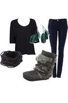 black Cheap Monday shirt - black asos bracelet - gray Manitobah Mukluks shoes -