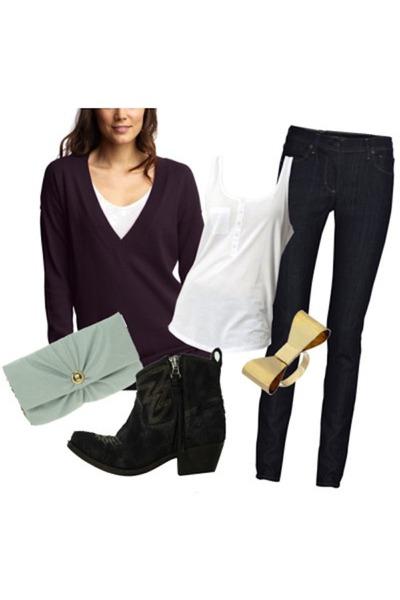 purple Gap sweater - blue asos purse - black All Saints boots - white gestuz shi