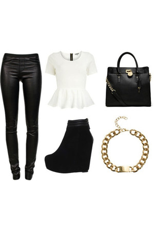 black leather leggings - black large tote Michael Kors bag - white Peplum top
