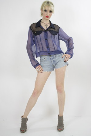 sheer blouse - denim shorts