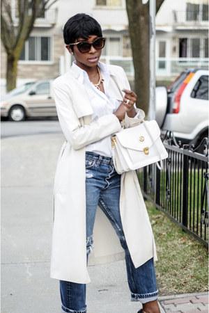 off white Gap shirt - beige H&M coat - blue Levis pants