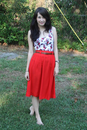 carrot orange Forever 21 skirt - brown belt