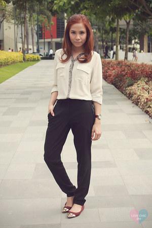 beige Marks & Spencer blouse