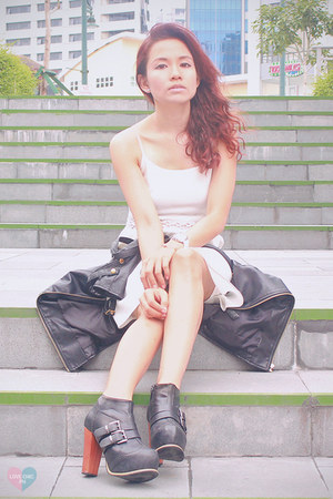 black leather Forever 21 jacket - white mini Forever 21 dress