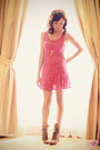 Light-brown-lace-up-call-it-spring-boots-hot-pink-crochet-lhasa-dress