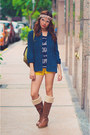 Light-brown-knee-high-kohls-boots-navy-thrifted-shirt