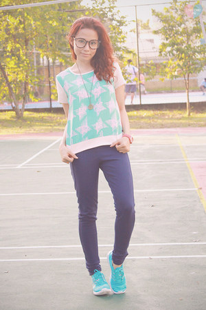 aquamarine printed Bayo shirt - turquoise blue element refine Adidas sneakers