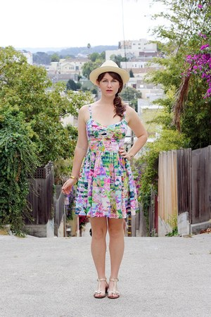 bubble gum amanda uprichard dress - eggshell panama hat J Crew hat