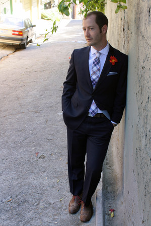 navy Seymours Fashions suit - Allen Edmonds shoes