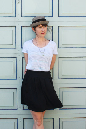 dark khaki vintage hat - cream Tangleweeds necklace - black The Podolls skirt