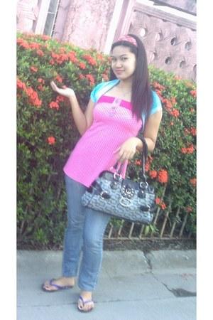 blue genevieve gozum blazer - pink top