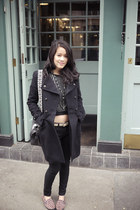 Topshop jeans - Zara coat - cropped Topshop sweater - Mulberry bag