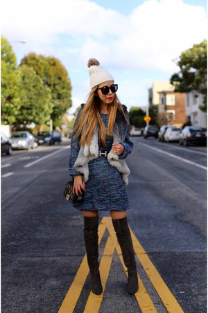 sweater dress sweater - OTK Boots boots - beanie hat - Bag bag - Belt belt