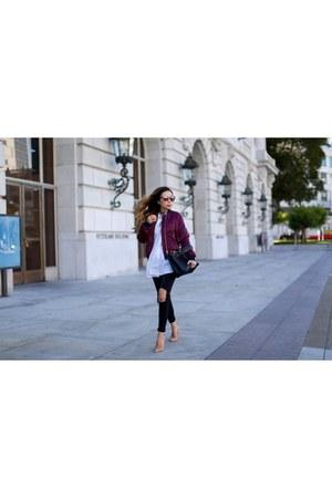 Choker necklace - Jeans jeans - Bomber jacket jacket - Bag bag