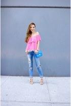 Top top - Jeans jeans - Bag bag - Shoes wedges - Earrings earrings