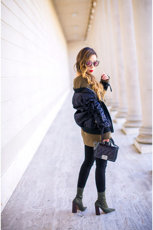 only 24 lace up sweater sweater - booties boots - Bomber jacket