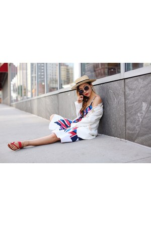 hat hat - Dress dress - Blazer blazer - sunglasses sunglasses - sandals sandals