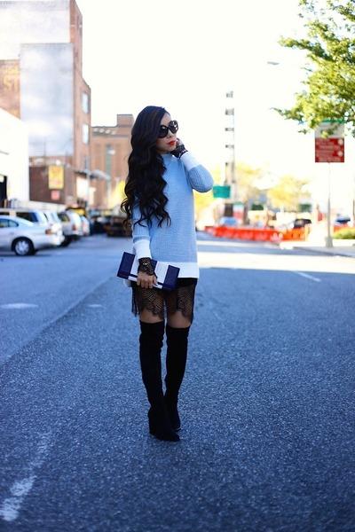 bracelet bracelet - boots boots - Dress dress - Sweater sweater