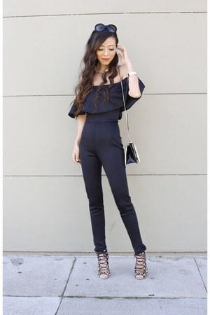 jumpsuit jumper - Bag bag - sunnies sunglasses - heels heels - necklace necklace