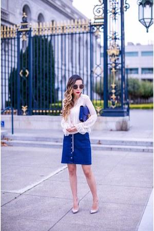 Skirt skirt - Bag bag - sunglasses sunglasses - heels heels - Earrings earrings