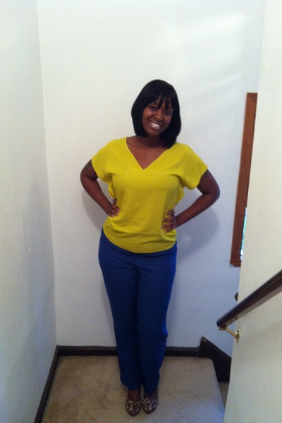 navy Thrift Store pants - yellow Zara blouse - brown sam edelman pumps