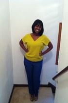 navy Thrift Store pants - yellow Zara blouse - brown sam edelman pumps