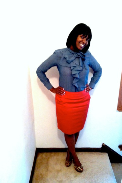 Gap blouse - thrifted skirt - sam edelman pumps