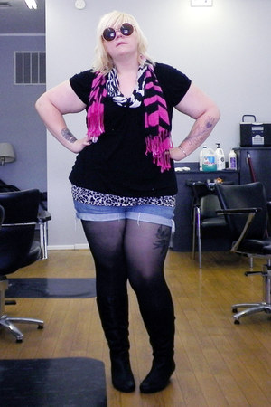 blue cut-off shorts - black small wedge boots - hot pink zebra print scarf