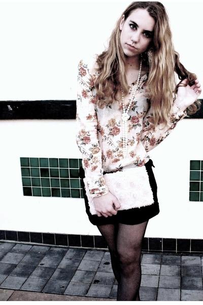 light pink rosette clutch H&M bag - black black buttoned Target shorts - off whi