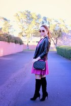 Zara jacket - Cole Haan boots - amanda uprichard dress - Forever 21 bag
