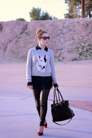 Topshop sweater - Michael Kors bag - parda sunglasses - Zara pants