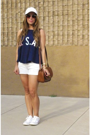 Target hat - coach bag - Paige Demin shorts - H&M sunglasses - Converse sneakers