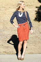 statement H&M necklace - platforms Guess heels - anthro Anthropologie skirt